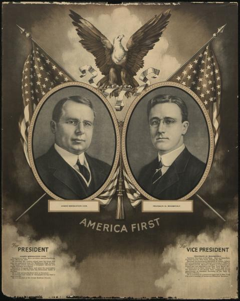 'America First' 1920 presidential campaign poster