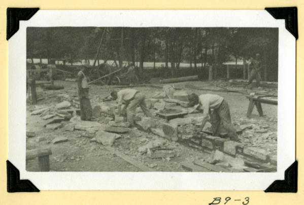 Fort Hill, shelter house laying stone photograph