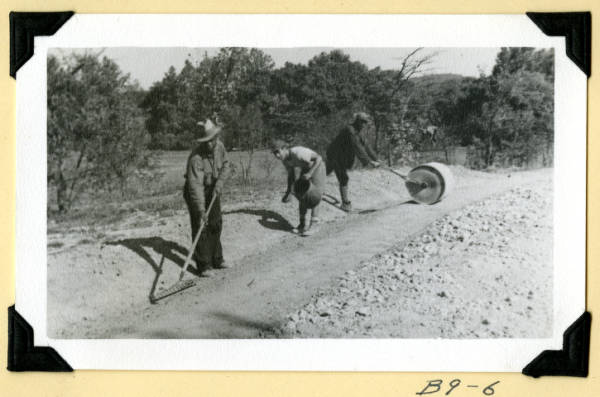 Fort Hill, planting grass seed photograph