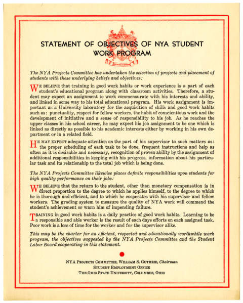 NYA statement of objectives document
