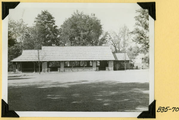 Fort Hill, view of shelter from picnic area photograph