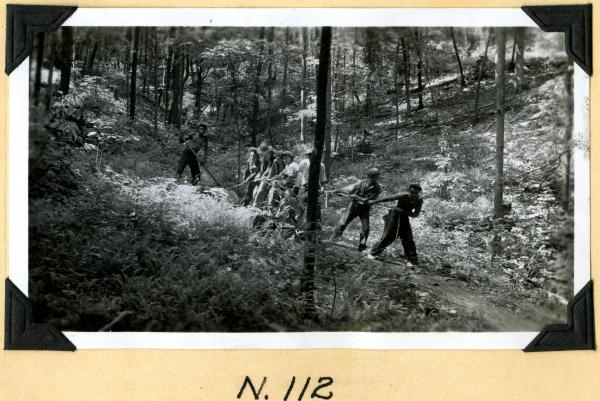 Fort Hill, dragging a log photograph