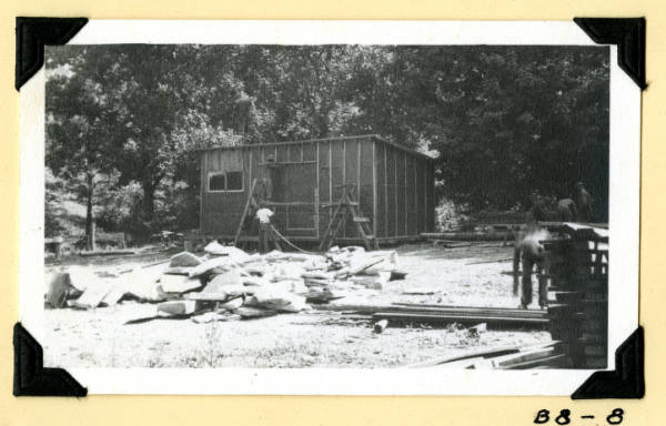 Fort Hill, front view of cement storage shed photograph