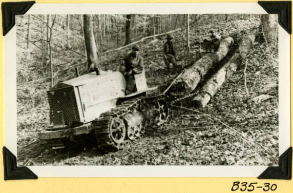 Fort Hill, removing logs photograph