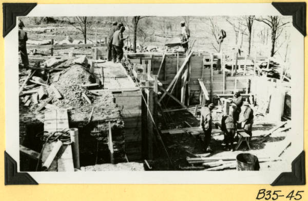 Fort Hill, pouring concrete foundations photograph