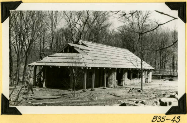 Fort Hill, shelter house roof in place photograph