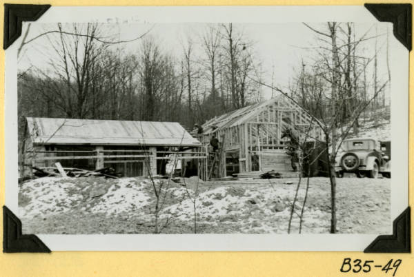 Fort Hill, garage and workshop framework photograph