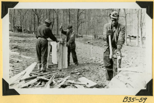 Fort Hill, bolting logs for clapboards photograph
