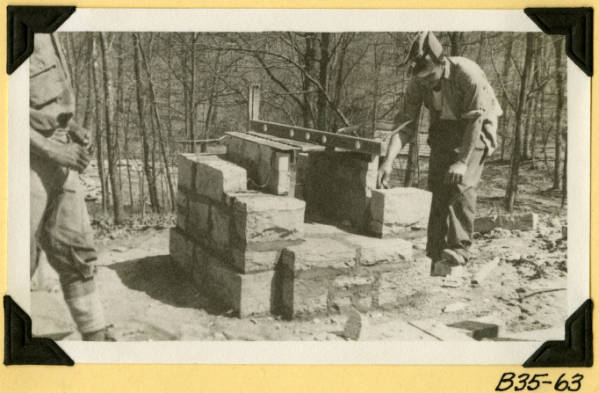 Fort Hill, camp stove construction photograph