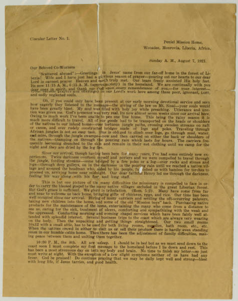 Circular Letter to Mission Co-Workers from Rev. E.A. Ayress N.D. in Monrovia, Liberia on August 7, 1921