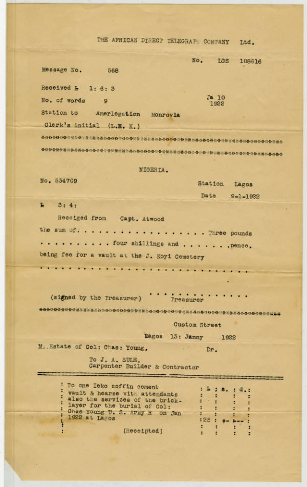 Lists of Expenditures by Capt. H.O. Atwood Associated with Col. Young's Death and Burial in Lagos, Nigeria