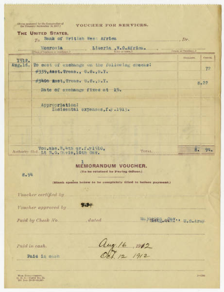 Charles Young's Vouchers for Services Receipts – July-Sept. 1912 (some with reference to Lt. B.O. Davis, 10th Cav.)
