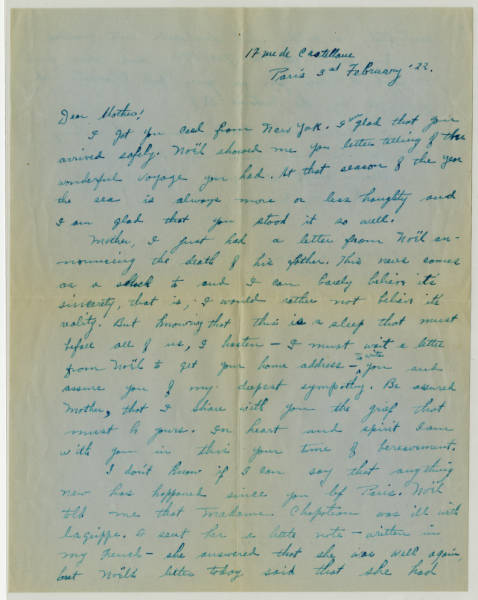Correspondence between Ada Young and Billy, who is a friend of her son Noel Young in reference to the death Col. Charles Young