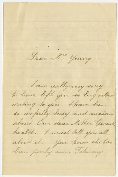 Correspondence between Ada Young and Ammee' de Maue in reference to the health and well being of Ammee' de Maue ailing mother