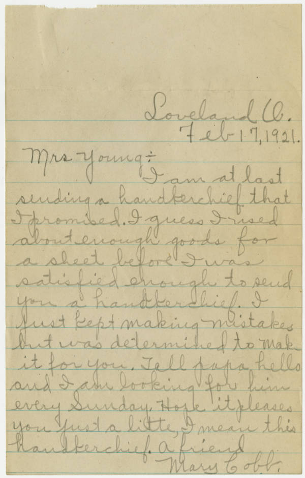 Correspondence between Mary Cobb to Ada Young, in regards to a promised hand made handkerchief
