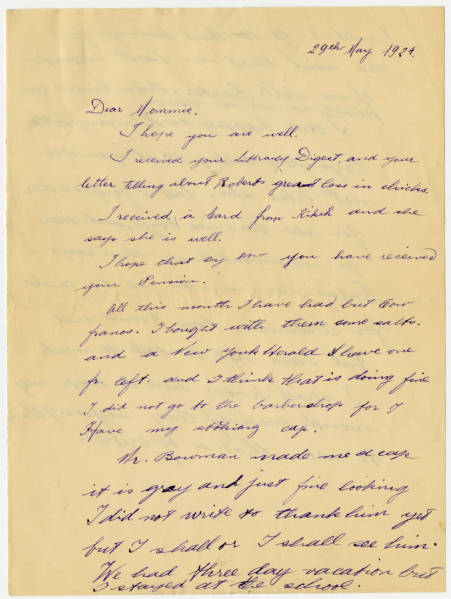 Correspondence between Ada Young from Aunt Loulouze in Paris