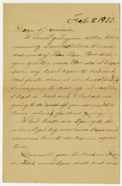 """Correspondence between Charles Noel Young, """"Tonton"""" and his mother Ada Young, regarding the death of his Father Col. Charles Young"""