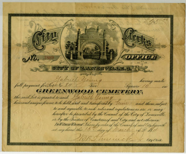 Cemetery Plot Certificate belonging to Gabriel Young – March 15, 1894