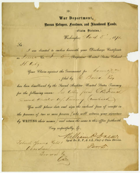 Discharge certificate for Private Gabriel Young's War Department Claim Form, Co. F, 5th Reg. U.S. Colored Infantry.