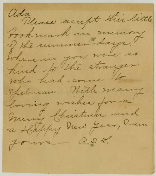 Correspondence between Ada Mills and an unknown individual with the initials A.S.L.