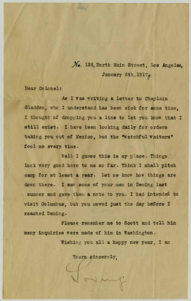 """Correspondence between Col. Charles Young and a Friend Signed """"Loving"""""""