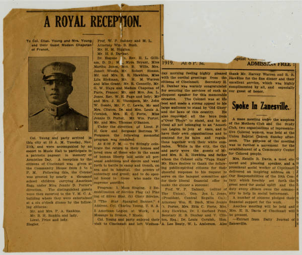 Newspaper Article on Col. And Mrs. Young's Reception in Cincinnati, Ohio (2 copies)
