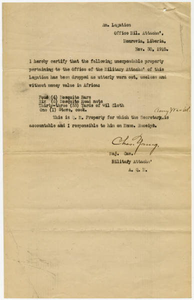 Note from Military Attaché Young on Property Values