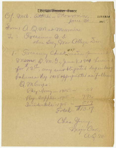 Another of Young's Financial Report  to Monrovia Liberia