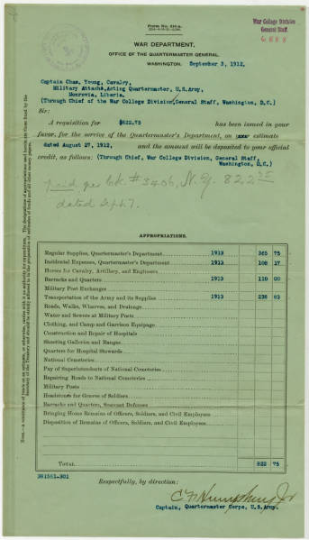 Requisition for Funds by Maj. Young in September