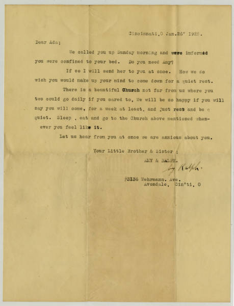 Letter to Ada Young