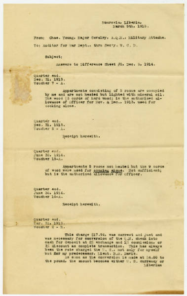 Letter From Charles Young to Auditor of War Dept.