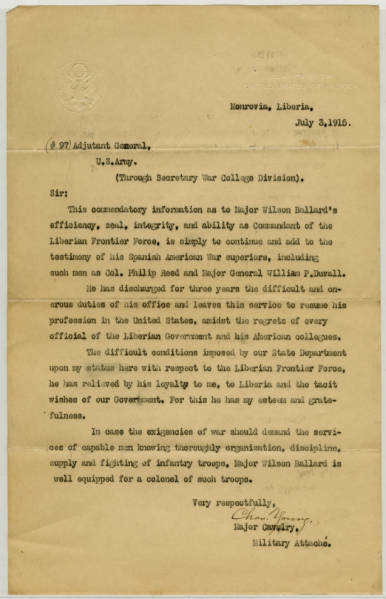 Letter of Commendation from Maj. Young for Maj. Wilson Ballard