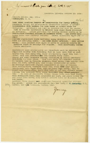 Correspondence from Col. Charles Young to Col. McCain, Adj. Gen. in Monrovia Regarding State of Liberia and U.S. Business Opportunities