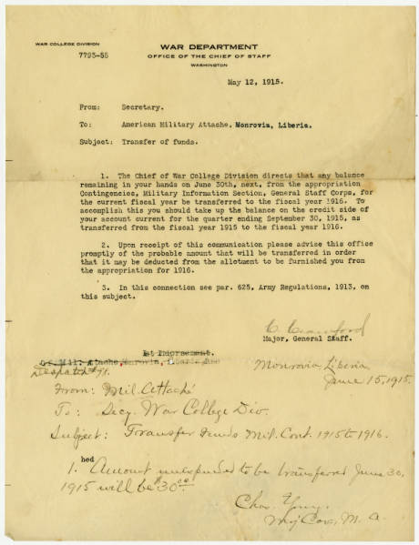 Correspondence between the War Department and Maj. Young while in Monrovia, Liberia
