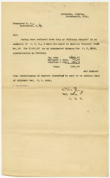 Correspondence to Treasurer of the U.S. from Maj. Young Following Relief of Duty as Military Attaché