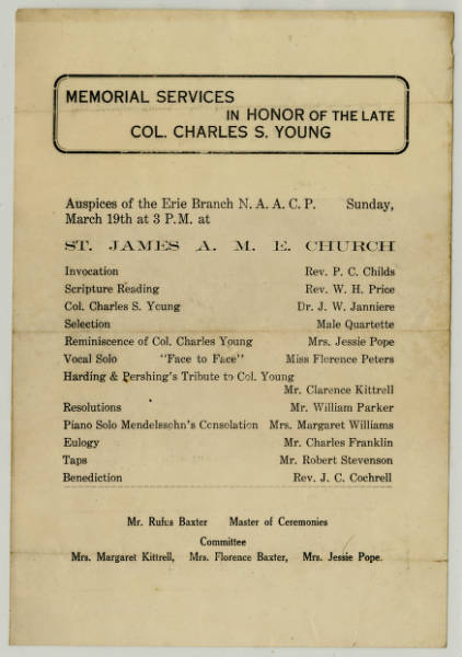 Program from the Memorial Service in Honor of the Late Col. Charles S. Young