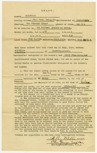 """One Lease Agreement for Charles Young at the """"General Sherman"""" House – Monrovia Liberia, Africa"""