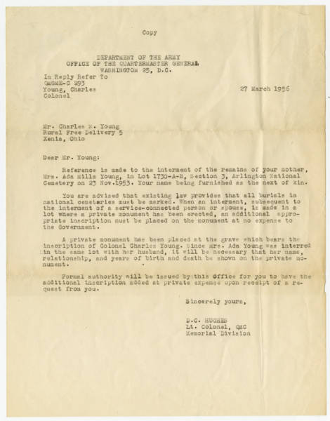 Correspondence Sent to Charles Noel Young from D.C. Hughes Lt. Col., QMC Memorial Division