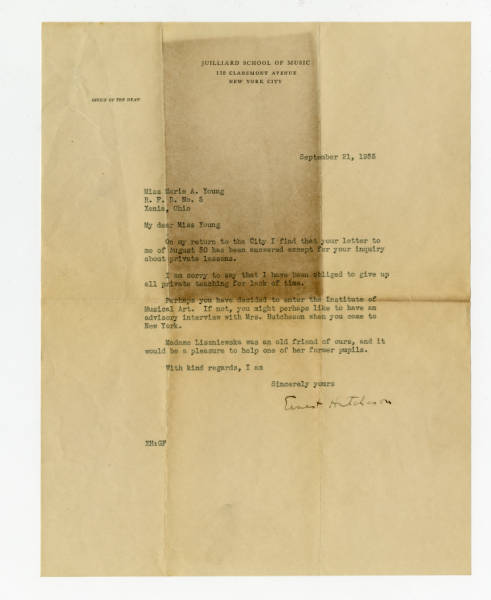 Correspondence Sent to Marie Young from Ernest Hutcheson, Julliard School of Music