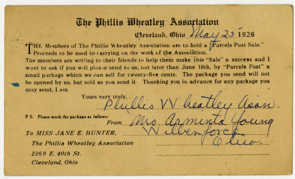 Arminta Young's Invitation Card from the Phillis Wheatley Assoc.