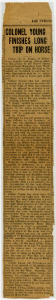 Newspaper Clipping Detailing Charles Young's Ride from Wilberforce to Washington D.C.