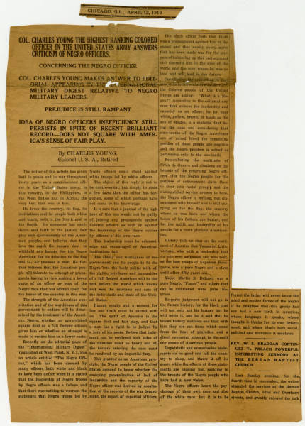 Publication Criticizing Black Officers Newspaper Clipping Editorial Written by Col. Charles Young in Response to West Point
