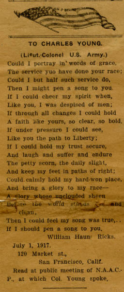 """Newspaper Clipping from the Los Angeles New Age– """"Poem by William H. Ricks to Lt. Col. Young Read at NAACP Meeting"""""""