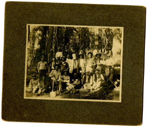 Photograph of Captain (Col.) Charles Young taken in 1903 with the Company of Buffalo Soldiers from the 9th Cavalry Regiment in Sequoia National Park, California.