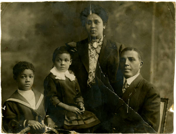 Photograph of Col. Charles Young and Family, from left: son, Charles