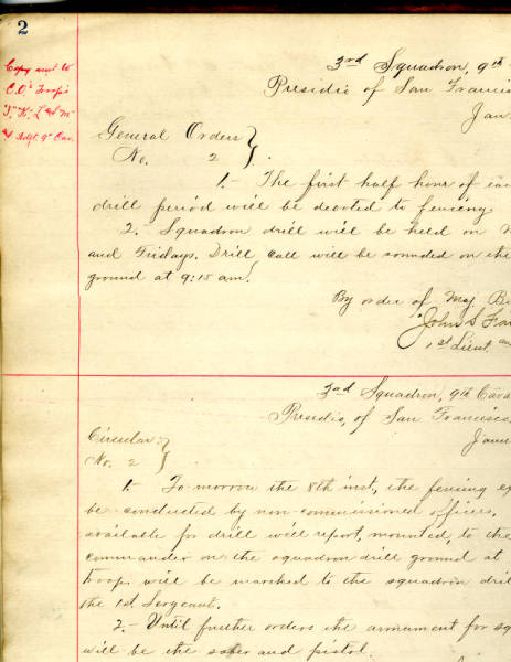3rd Squadron, 9th Cavalry General Orders and Circular