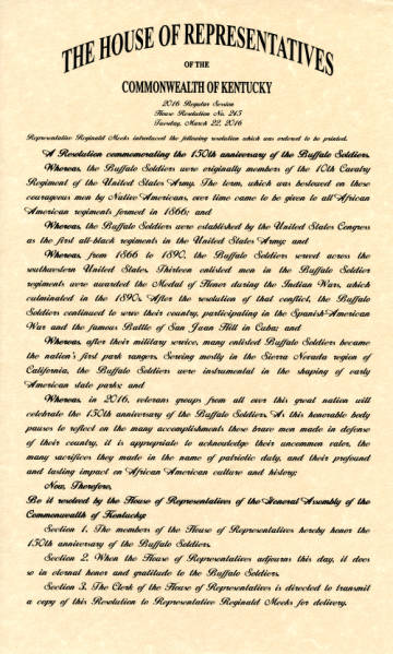 Resolution Commemorating the Buffalo Soldiers