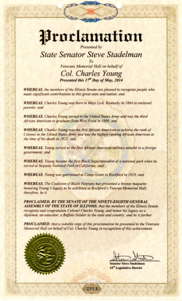 Colonel Charles Young Veterans Memorial Hall Proclamation
