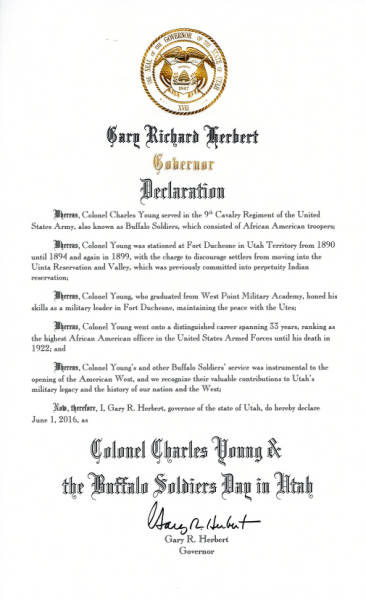 Colonel Charles Young and the Buffalo Soldiers Day in Utah Declaration