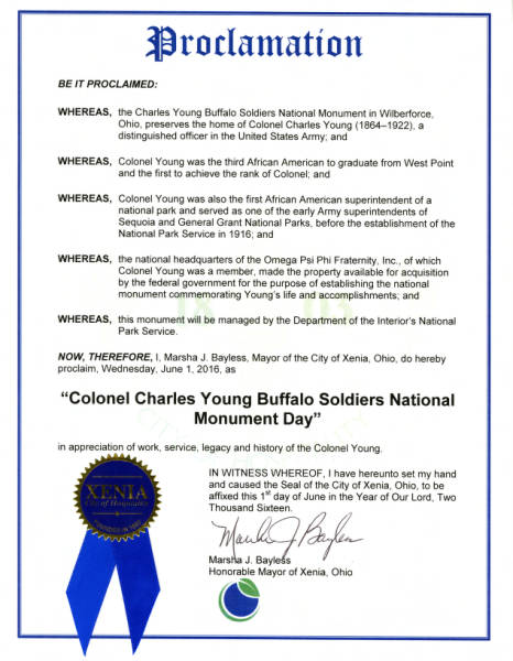 Colonel Charles Young Buffalo Soldiers National Monument Day Proclamation